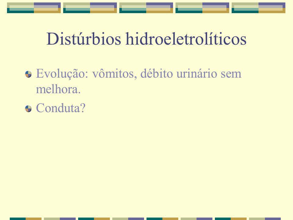 Distúrbios hidroeletrolíticos Evolução: vômitos, débito urinário sem melhora. Conduta?