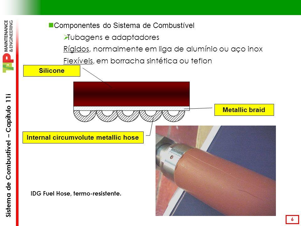 Sistema de Combustível – Capítulo 11i 6 Componentes do Sistema de Combustível Tubagens e adaptadores Rígidos, normalmente em liga de alumínio ou aço inox Flexíveis, em borracha sintética ou teflon IDG Fuel Hose, termo-resistente.
