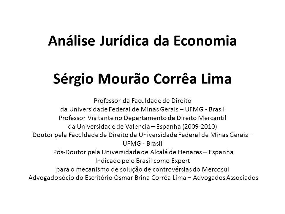 Análise Jurídica da Economia Sérgio Mourão Corrêa Lima Professor da Faculdade de Direito da Universidade Federal de Minas Gerais – UFMG - Brasil Profe