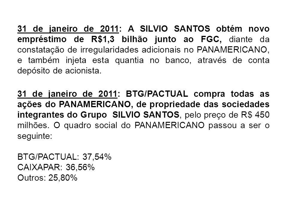 31 de janeiro de 2011: A SILVIO SANTOS obtém novo empréstimo de R$1,3 bilhão junto ao FGC, diante da constatação de irregularidades adicionais no PANA