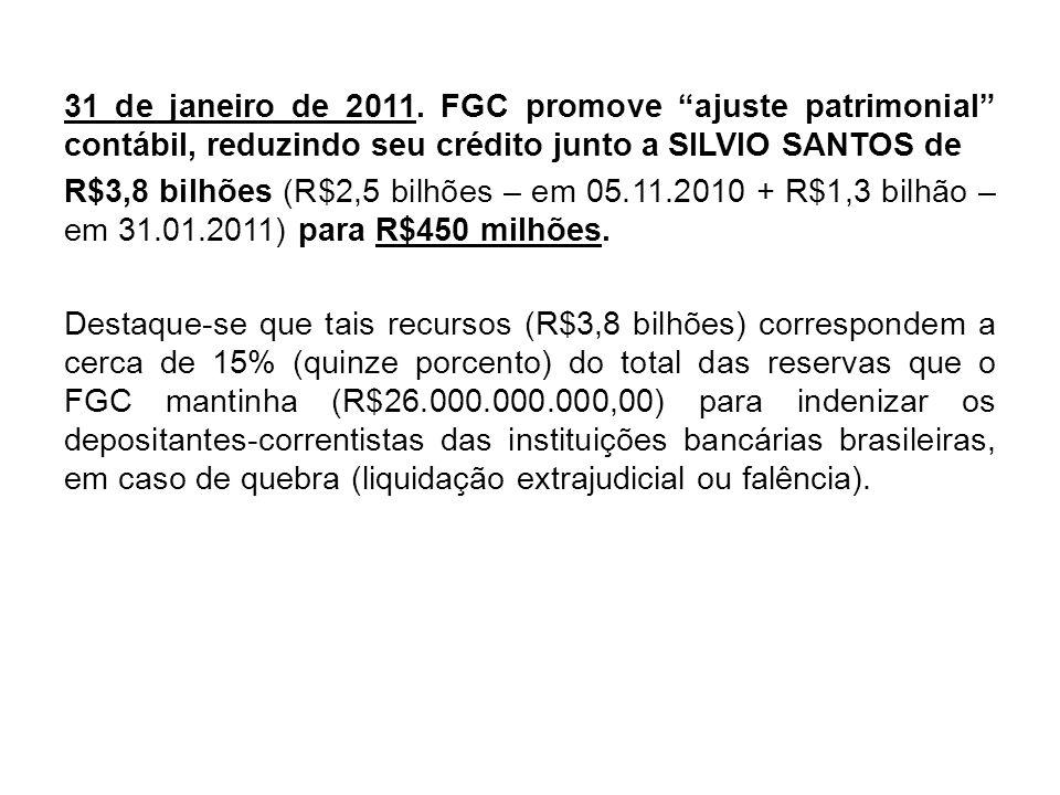 31 de janeiro de 2011. FGC promove ajuste patrimonial contábil, reduzindo seu crédito junto a SILVIO SANTOS de R$3,8 bilhões (R$2,5 bilhões – em 05.11