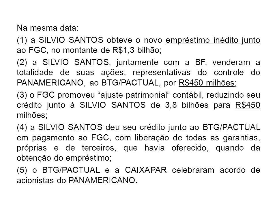 Na mesma data: (1) a SILVIO SANTOS obteve o novo empréstimo inédito junto ao FGC, no montante de R$1,3 bilhão; (2) a SILVIO SANTOS, juntamente com a B