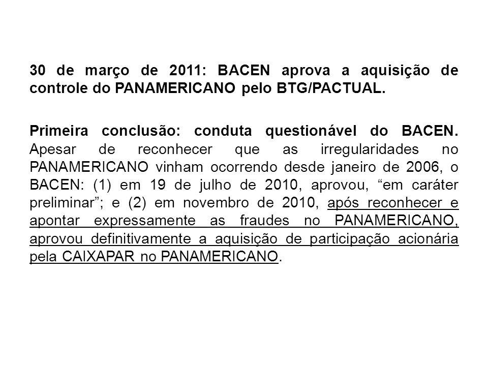 30 de março de 2011: BACEN aprova a aquisição de controle do PANAMERICANO pelo BTG/PACTUAL. Primeira conclusão: conduta questionável do BACEN. Apesar