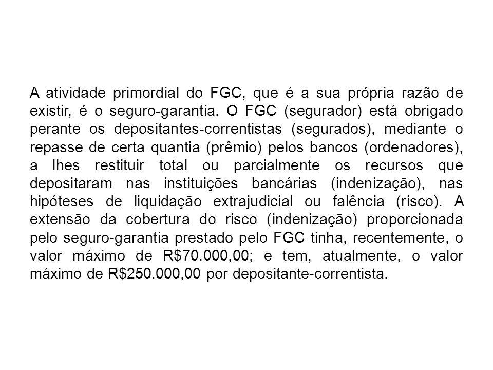 A atividade primordial do FGC, que é a sua própria razão de existir, é o seguro-garantia. O FGC (segurador) está obrigado perante os depositantes-corr