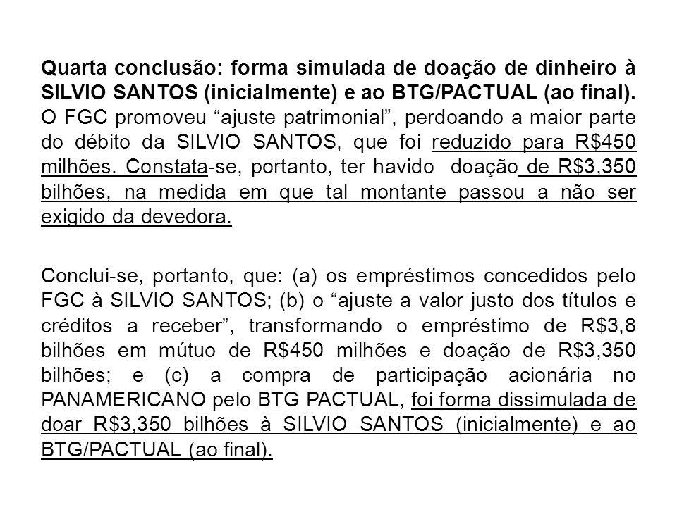 Quarta conclusão: forma simulada de doação de dinheiro à SILVIO SANTOS (inicialmente) e ao BTG/PACTUAL (ao final). O FGC promoveu ajuste patrimonial,