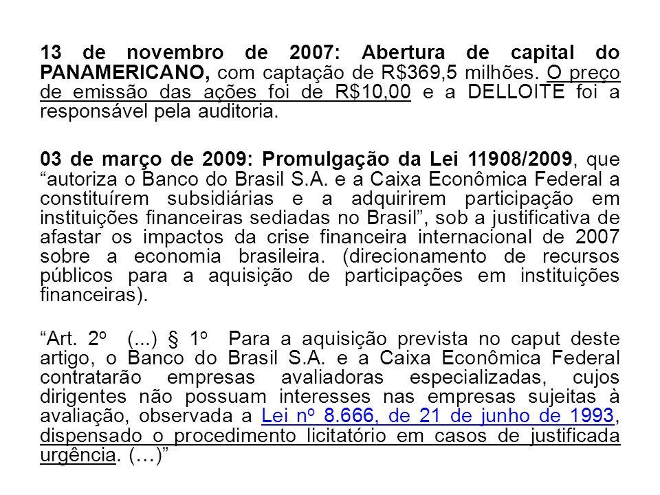 13 de novembro de 2007: Abertura de capital do PANAMERICANO, com captação de R$369,5 milhões. O preço de emissão das ações foi de R$10,00 e a DELLOITE