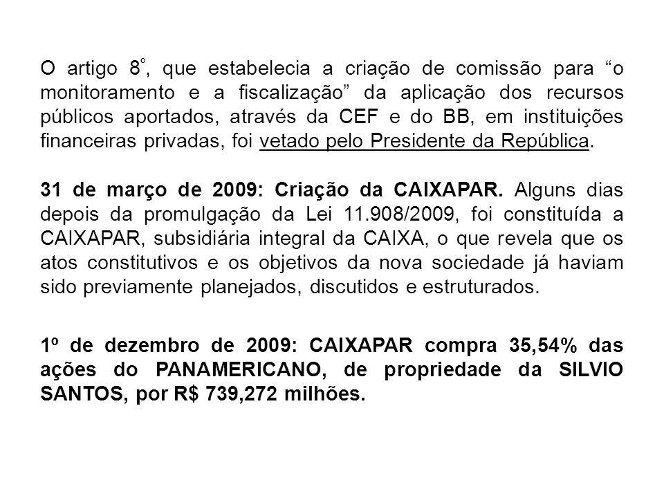 O quadro social do PANAMERICANO passou a ser o seguinte: Baú da Felicidade: 0,37% Liderança: 24,96% Silvio Santos Participações: 12,31% CAIXAPAR: 36,56% Outros: 25,80% BB, na linha do que fora autorizado pela Lei 11.908/2009, também implementou a compra de participação acionária no BANCO VOTORANTIM, por R$4,2 bilhões.