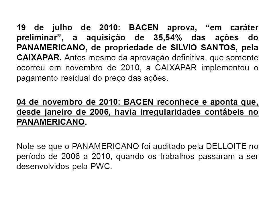 19 de julho de 2010: BACEN aprova, em caráter preliminar, a aquisição de 35,54% das ações do PANAMERICANO, de propriedade de SILVIO SANTOS, pela CAIXA