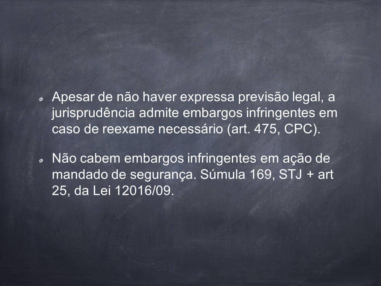 Apesar de não haver expressa previsão legal, a jurisprudência admite embargos infringentes em caso de reexame necessário (art. 475, CPC). Não cabem em