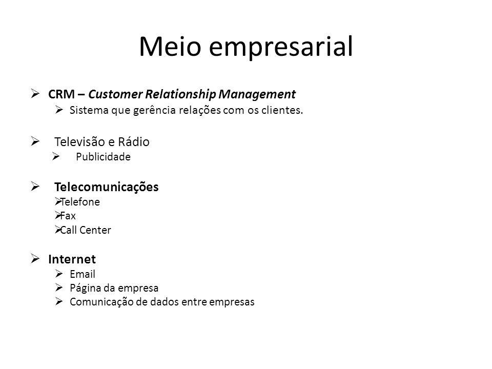 Meio empresarial CRM – Customer Relationship Management Sistema que gerência relações com os clientes. Televisão e Rádio Publicidade Telecomunicações