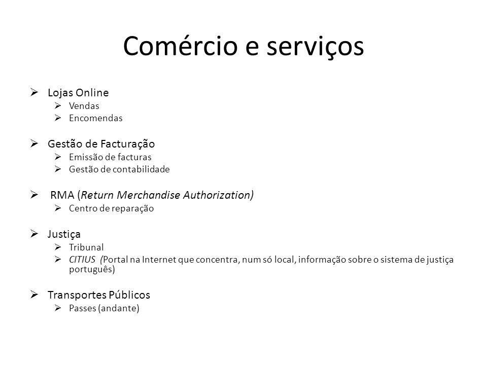 Comércio e serviços Lojas Online Vendas Encomendas Gestão de Facturação Emissão de facturas Gestão de contabilidade RMA (Return Merchandise Authorizat