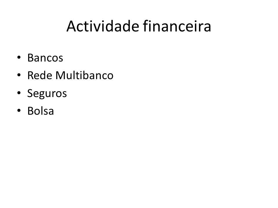 Actividade financeira Bancos Rede Multibanco Seguros Bolsa