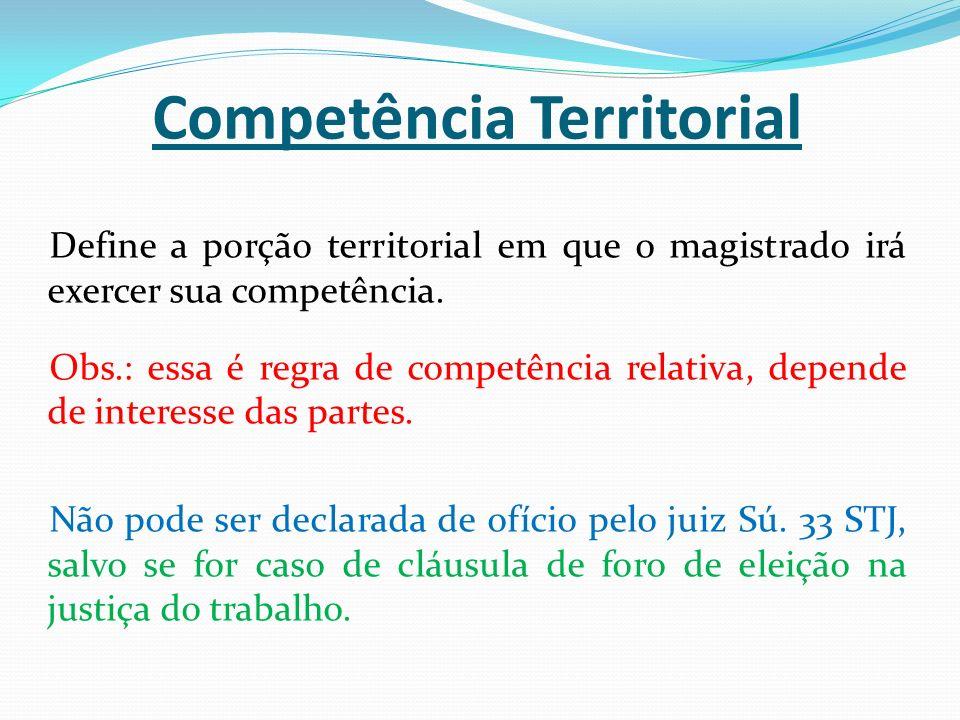 Competência Territorial Define a porção territorial em que o magistrado irá exercer sua competência. Obs.: essa é regra de competência relativa, depen
