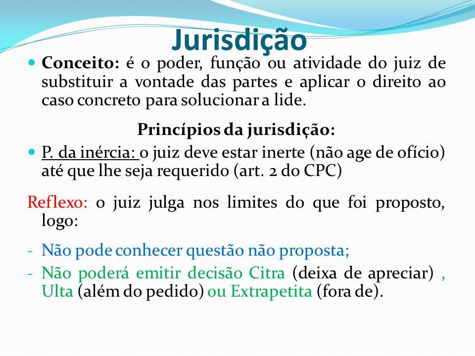 Jurisdição Conceito: é o poder, função ou atividade do juiz de substituir a vontade das partes e aplicar o direito ao caso concreto para solucionar a