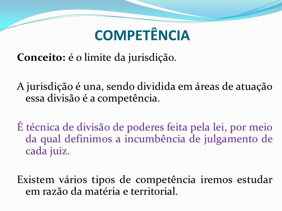 COMPETÊNCIA Conceito: é o limite da jurisdição. A jurisdição é una, sendo dividida em áreas de atuação essa divisão é a competência. É técnica de divi