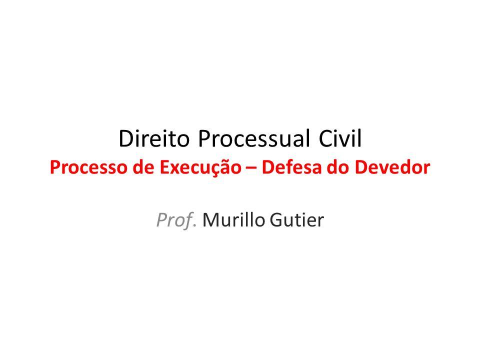 Direito Processual Civil Processo de Execução – Defesa do Devedor Prof. Murillo Gutier