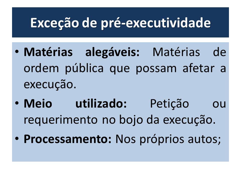 Exceção de pré-executividade Matérias alegáveis: Matérias de ordem pública que possam afetar a execução.