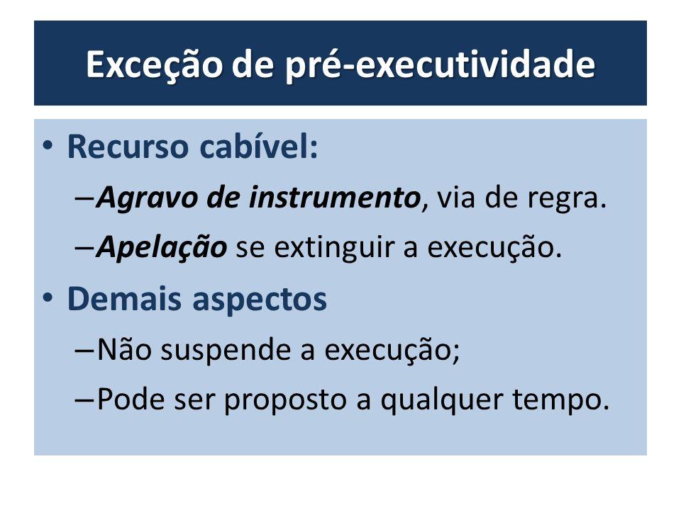 Exceção de pré-executividade Recurso cabível: – Agravo de instrumento, via de regra.