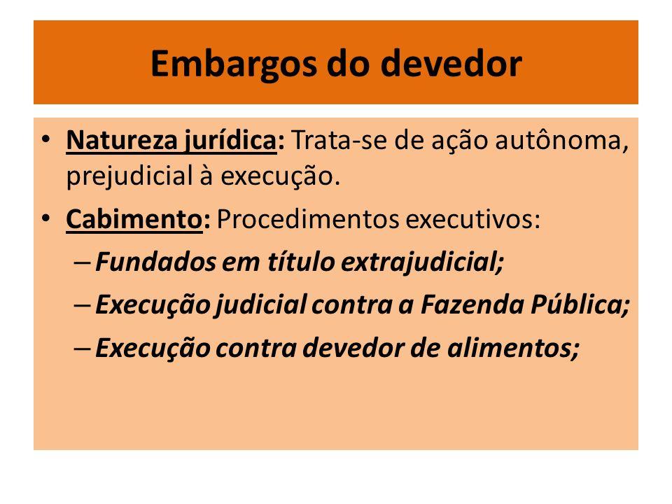 Embargos do devedor Natureza jurídica: Trata-se de ação autônoma, prejudicial à execução.