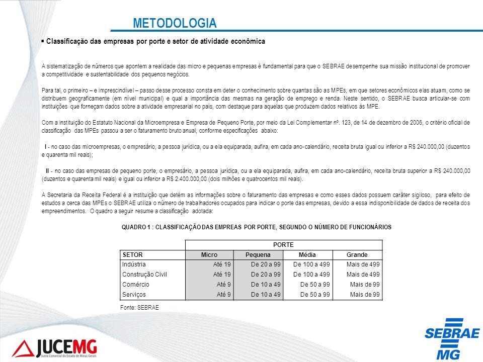 METODOLOGIA Classificação das empresas por porte e setor de atividade econômica A sistematização de números que apontem a realidade das micro e pequen