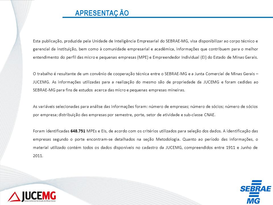 ESTABELECIMENTOS ABERTOS NO 1º SEMESTRE DE 2012 POR SETOR E PRINCIPAIS ATIVIDADES – SERVIÇOS RankAtividadeEIMPE Total geral Part.