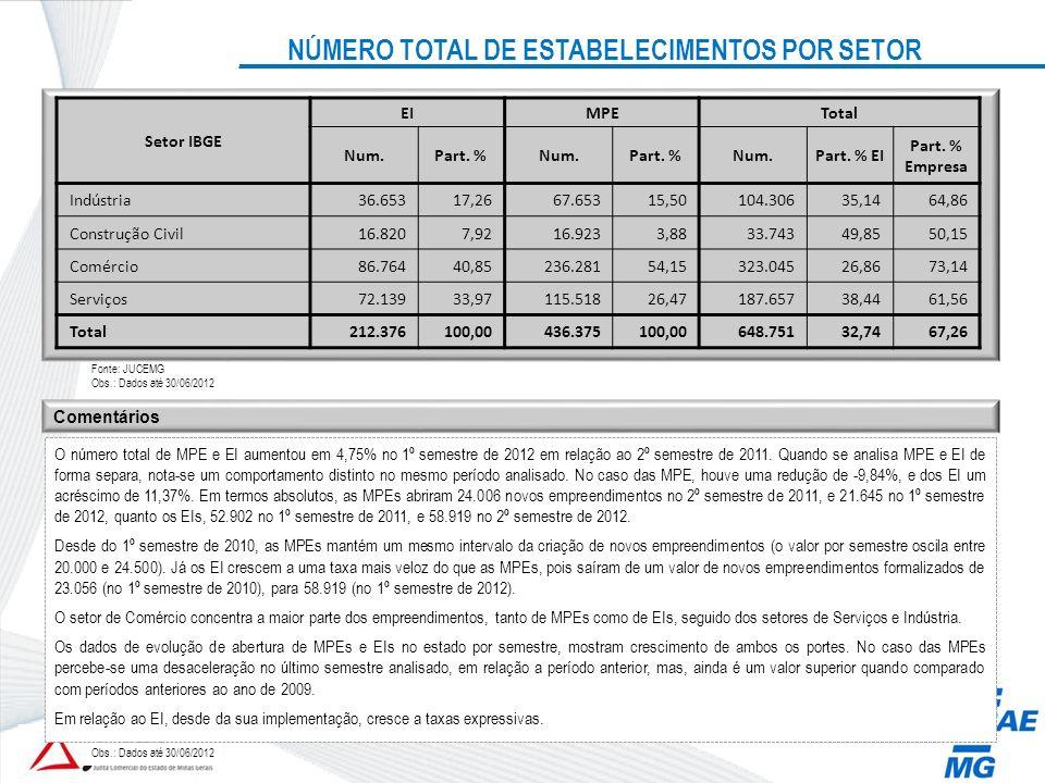 NÚMERO TOTAL DE ESTABELECIMENTOS POR SETOR Setor IBGE EIMPETotal Num.Part. %Num.Part. %Num.Part. % EI Part. % Empresa Indústria36.65317,2667.65315,501