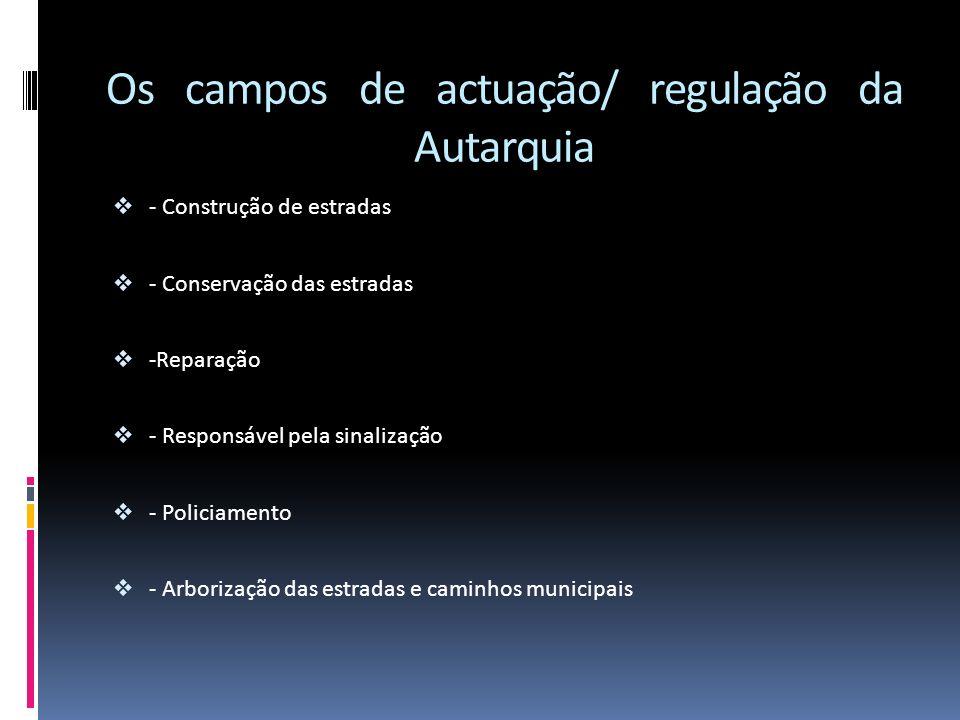 Os campos de actuação/ regulação da Autarquia - Construção de estradas - Conservação das estradas -Reparação - Responsável pela sinalização - Policiam