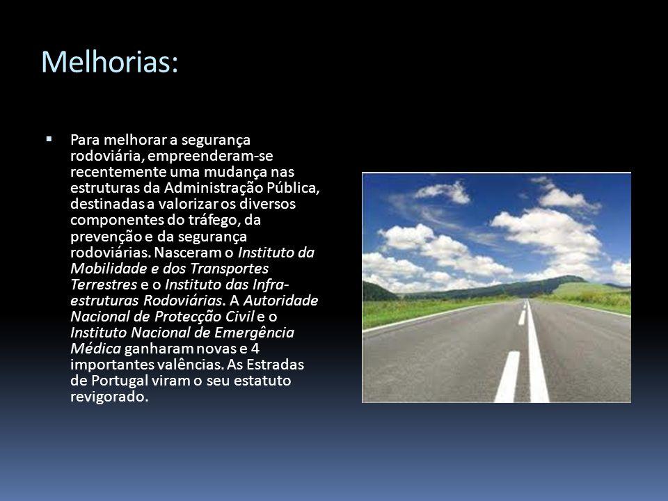 Melhorias: Para melhorar a segurança rodoviária, empreenderam-se recentemente uma mudança nas estruturas da Administração Pública, destinadas a valori
