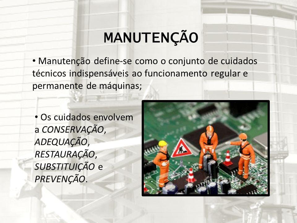 MANUTENÇÃO Manutenção define-se como o conjunto de cuidados técnicos indispensáveis ao funcionamento regular e permanente de máquinas; Os cuidados env
