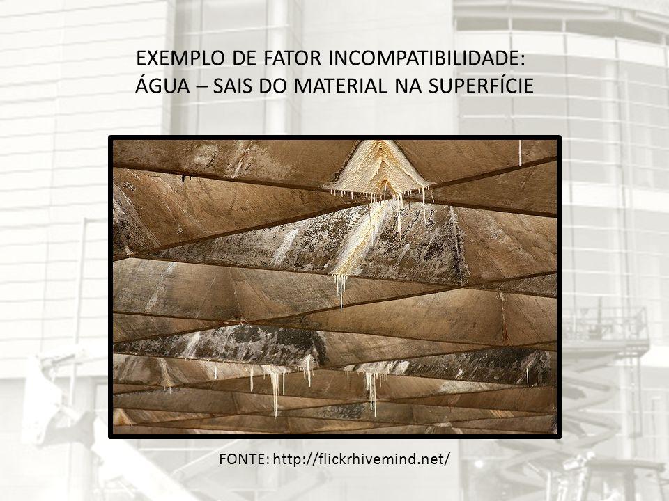 EXEMPLO DE FATOR INCOMPATIBILIDADE: ÁGUA – SAIS DO MATERIAL NA SUPERFÍCIE FONTE: http://flickrhivemind.net/