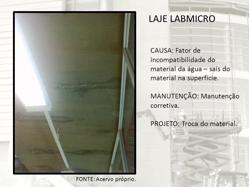 LAJE LABMICRO CAUSA: Fator de incompatibilidade do material da água – sais do material na superfície. MANUTENÇÃO: Manutenção corretiva. PROJETO: Troca