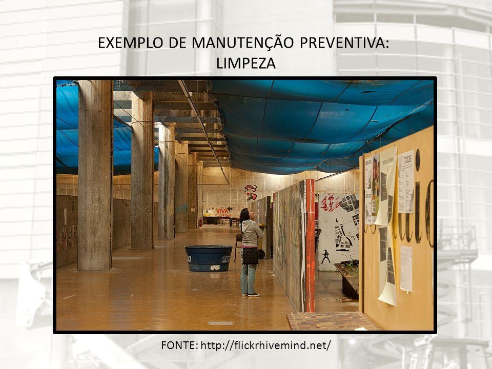FONTE: http://g1.globo.com/ceara/noticia/2012/02/atendimento-em-posto-de-saude-no-ce-e-suspenso-por-falta-de-energia.html EXEMPLO DE MANUTENÇÃO CORRETIVA: MANUTENÇÃO NO SETOR ELÉTRICO Quadro elétrico explodiu devido à uma infiltração.