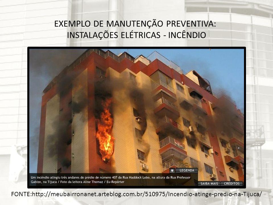 EXEMPLO DE MANUTENÇÃO PREVENTIVA: INSTALAÇÕES ELÉTRICAS - INCÊNDIO FONTE:http://meubairronanet.arteblog.com.br/510975/Incendio-atinge-predio-na-Tijuca