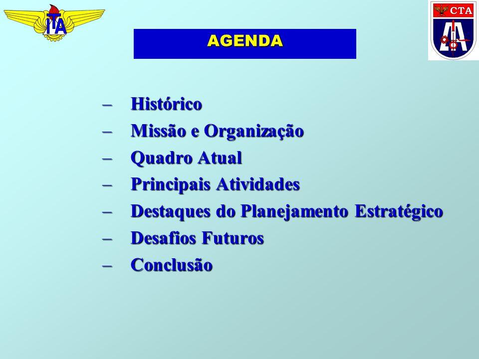 AGENDA –Histórico –Missão e Organização –Quadro Atual –Principais Atividades –Destaques do Planejamento Estratégico –Desafios Futuros –Conclusão