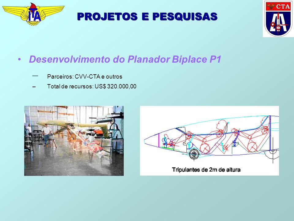 PROJETOS E PESQUISAS Desenvolvimento do Planador Biplace P1 – Parceiros: CVV-CTA e outros –Total de recursos: US$ 320.000,00