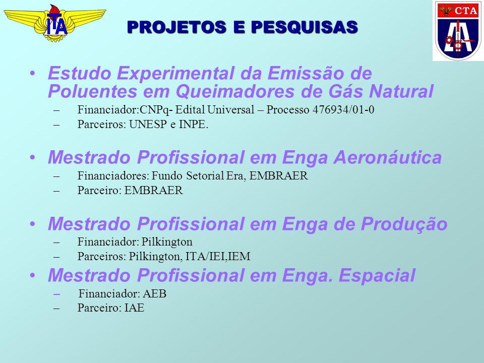 PROJETOS E PESQUISAS Estudo Experimental da Emissão de Poluentes em Queimadores de Gás Natural –Financiador:CNPq- Edital Universal – Processo 476934/0