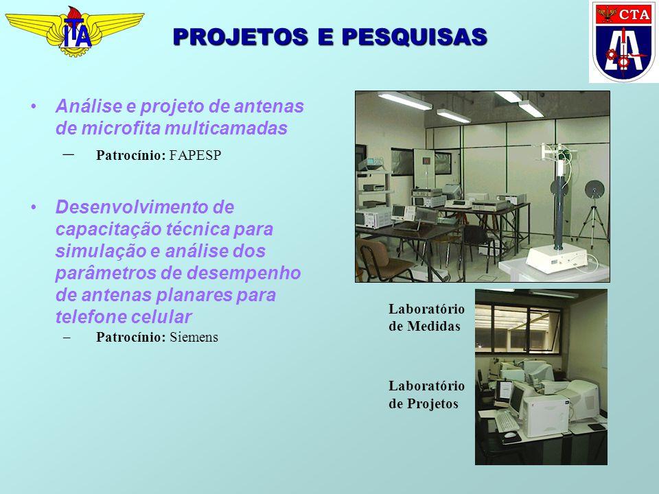 PROJETOS E PESQUISAS Análise e projeto de antenas de microfita multicamadas – Patrocínio: FAPESP Desenvolvimento de capacitação técnica para simulação
