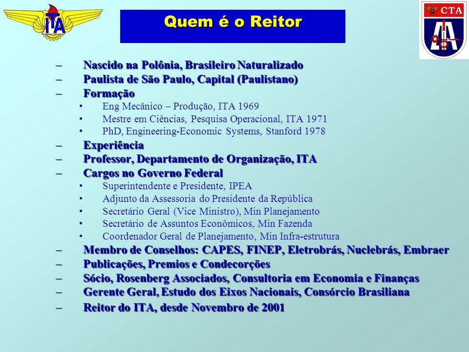 Resultados Provão ÚNICA ESCOLA A OBTER SEMPRE CONCEITO A EM TODOS OS PROVÕES Resultados normalizados – média de 19 participações nos Provões Metade dos graduados do ITA nos 5% superiores do Brasil