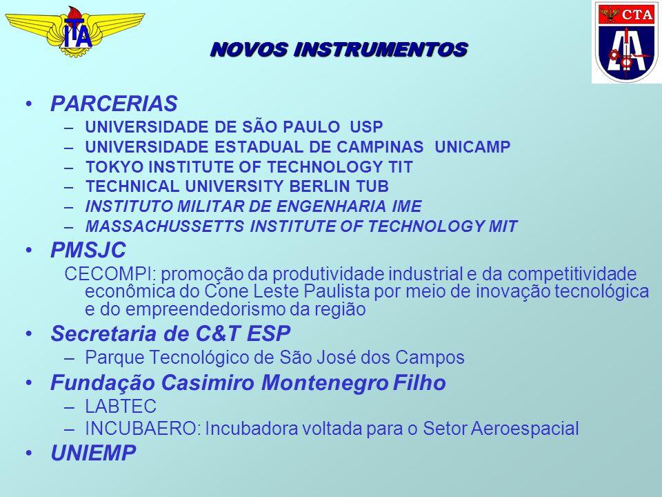 NOVOS INSTRUMENTOS PARCERIAS –UNIVERSIDADE DE SÃO PAULO USP –UNIVERSIDADE ESTADUAL DE CAMPINAS UNICAMP –TOKYO INSTITUTE OF TECHNOLOGY TIT –TECHNICAL U