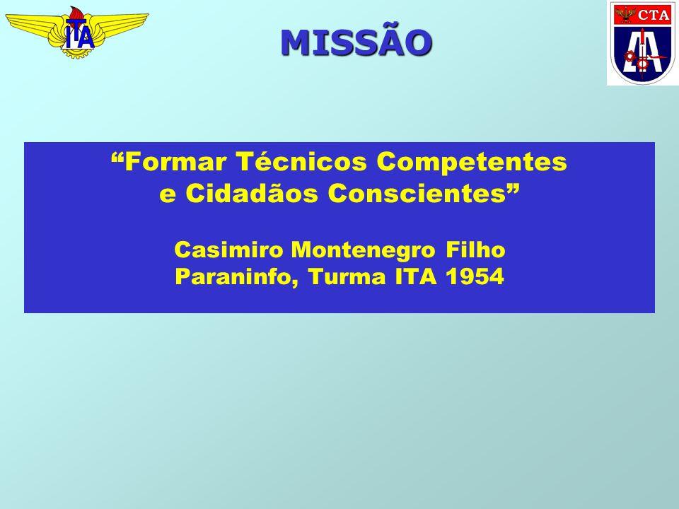 MISSÃO Formar Técnicos Competentes e Cidadãos Conscientes Casimiro Montenegro Filho Paraninfo, Turma ITA 1954