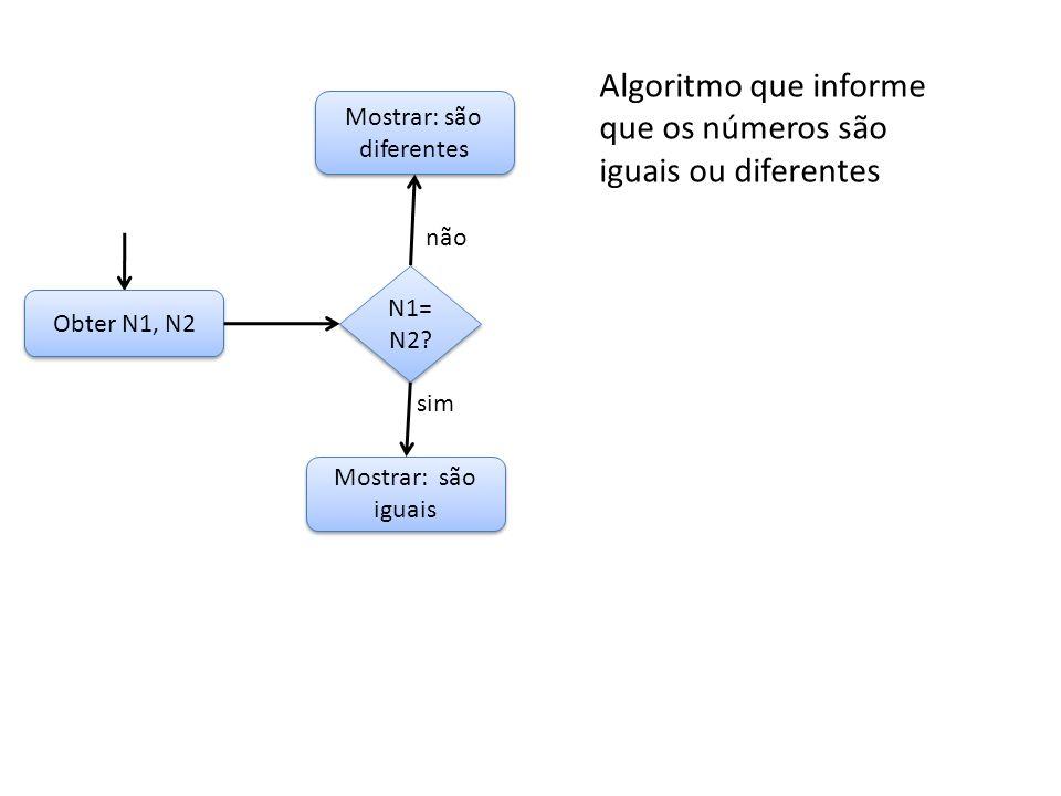 Obter N1, N2 Mostrar: são iguais Mostrar: são diferentes N1= N2? não sim Algoritmo que informe que os números são iguais ou diferentes