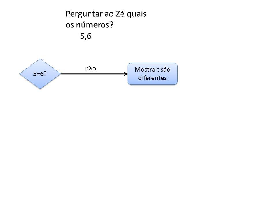 Mostrar: são diferentes 5=6? não Perguntar ao Zé quais os números? 5,6