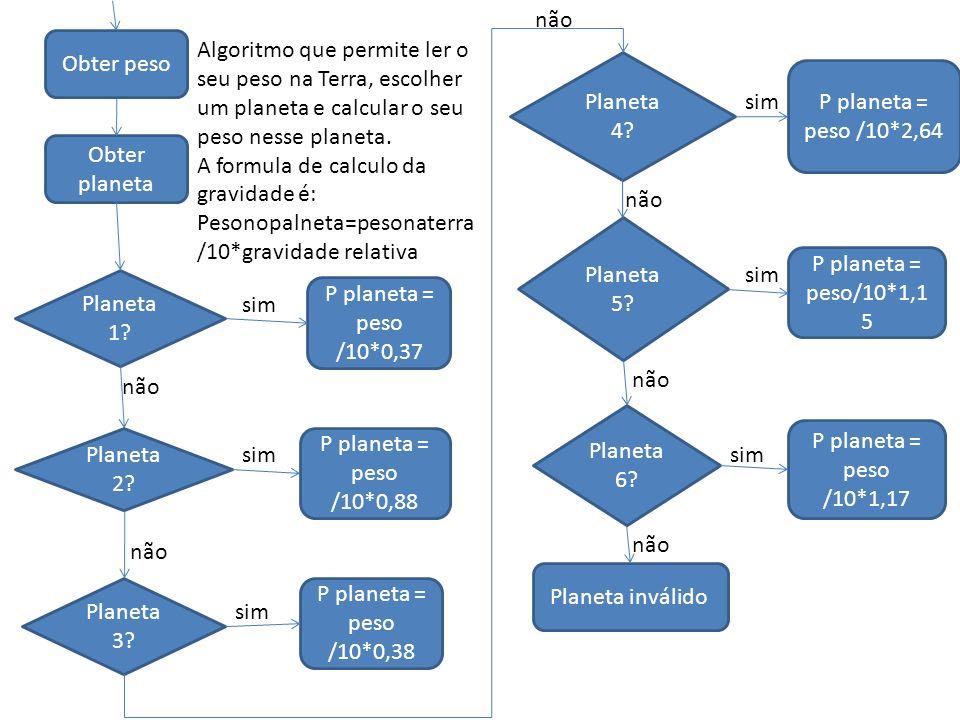 Obter peso Obter planeta P planeta = peso /10*1,17 P planeta = peso/10*1,1 5 P planeta = peso /10*2,64 P planeta = peso /10*0,38 P planeta = peso /10*