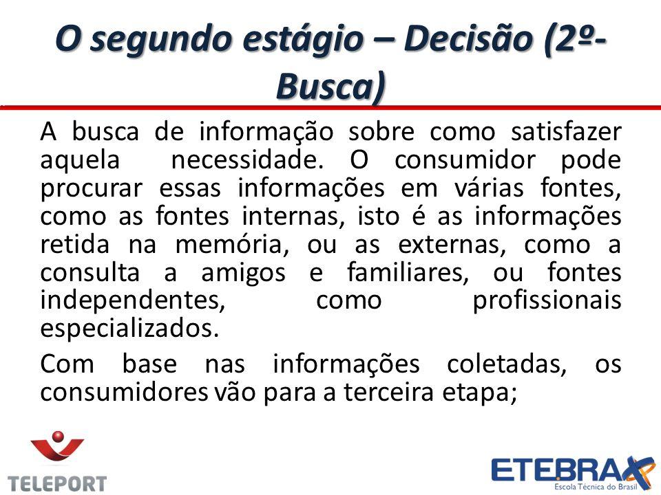 O segundo Estágio – Decisão (3º- Alternativa) A avaliação de alternativas, comparando as diversas maneiras de satisfazer suas necessidades.
