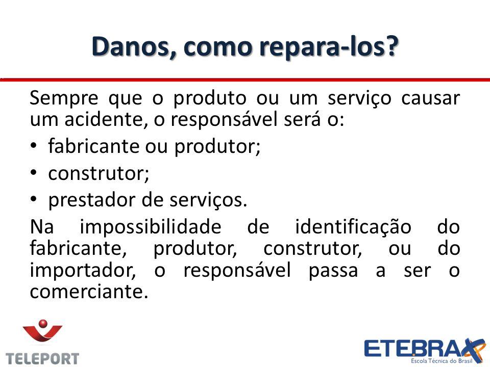 Dano: Defeito Se o produto apresentar um defeito (máquina de lavar não funciona), Você poderá reclamar a qualquer um dos Fornecedores: comerciante; fabricante ou produtor; construtor; importador.