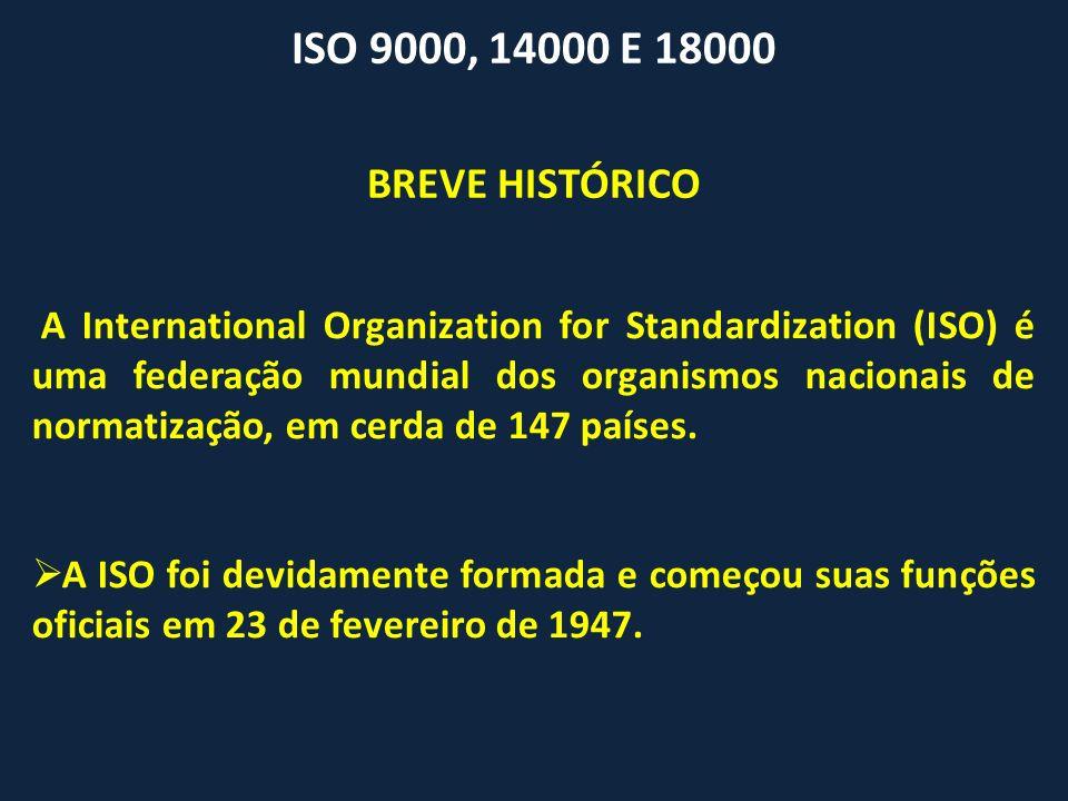 ISO 9000, 14000 E 18000 A International Organization for Standardization (ISO) é uma federação mundial dos organismos nacionais de normatização, em ce