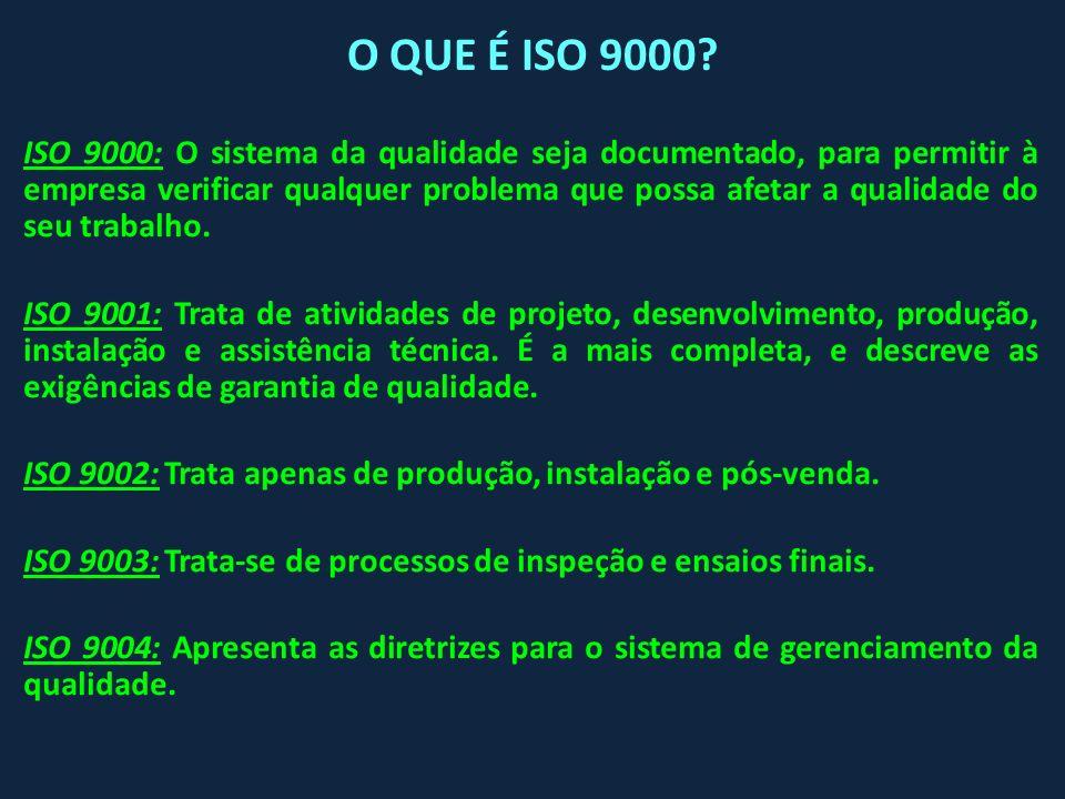 ISO 9000: O sistema da qualidade seja documentado, para permitir à empresa verificar qualquer problema que possa afetar a qualidade do seu trabalho. I