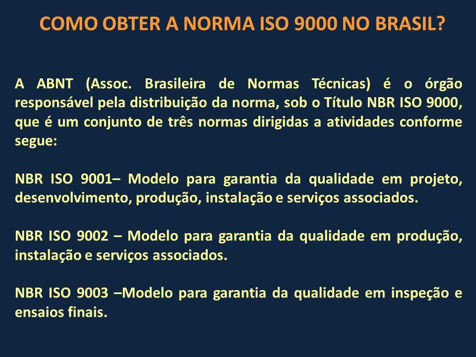 A ABNT (Assoc. Brasileira de Normas Técnicas) é o órgão responsável pela distribuição da norma, sob o Título NBR ISO 9000, que é um conjunto de três n