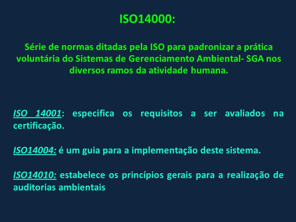 ISO14000: Série de normas ditadas pela ISO para padronizar a prática voluntária do Sistemas de Gerenciamento Ambiental- SGA nos diversos ramos da ativ