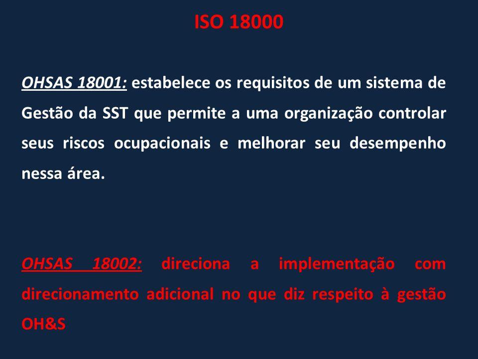 OHSAS 18001: estabelece os requisitos de um sistema de Gestão da SST que permite a uma organização controlar seus riscos ocupacionais e melhorar seu d